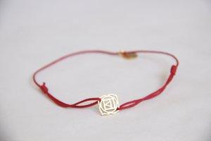 Cotton thread chakra bracelet - Gold amulet