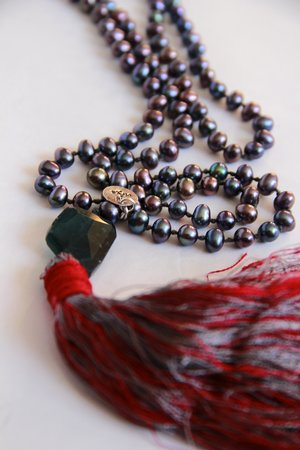 """Chakra-healing-at-Downtown-Abbey"" Mala - Grey"