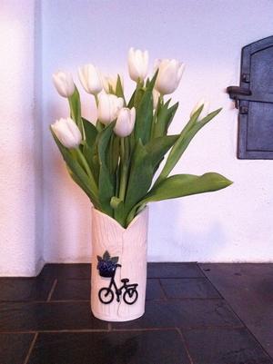 Vas-Cykel med blå blommor