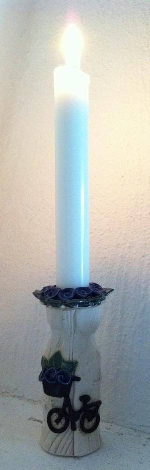 Ljusstake-Blå blommor