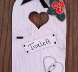 Toalettskylt-Aprikosa blommor