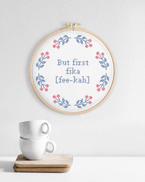Cross stitch kit with aida – But first fika