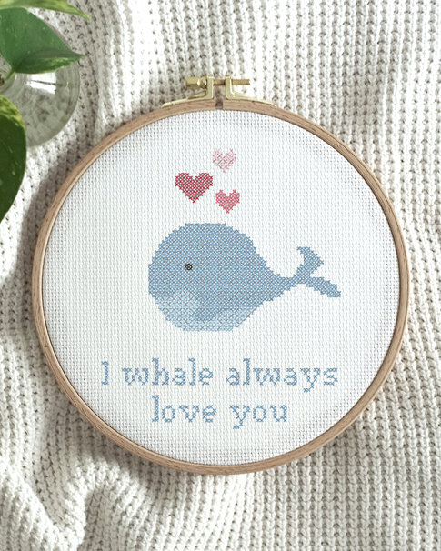 Cross stitch kit with aida – Oh, whale