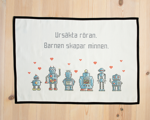 Ursäkta röran / We are the robots - Broderikit Aida