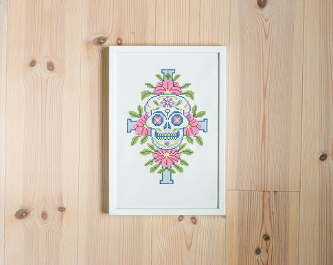 Cross stitch kit with aida - Sugar skull