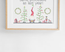 Tired Santa - Cross stitch kit aida