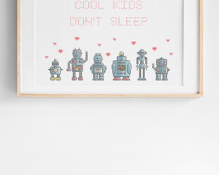 Cool kids / We are the robots - Broderikit aida