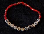 Armband enfärgad röd/silver