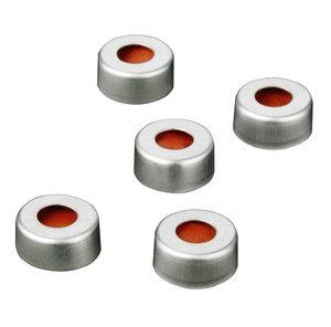 Aluminum crimp cap Ø11 mm with silicone/PTFE septum, 100 pcs