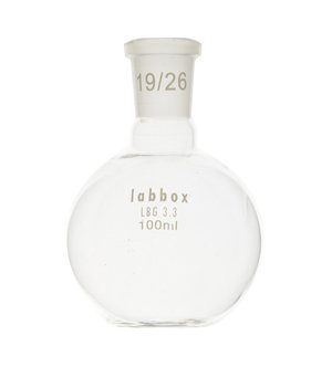 Boiling flask, flat bottom, LBG 3.3, mouth 14/23, 50 ml, 12 pcs