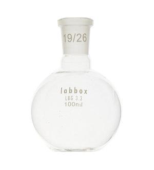 Boiling flask, flat bottom, LBG 3.3, mouth 14/23, 100 ml, 12 pcs