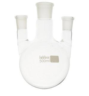 Flask, round bottom with three necks (parallel), LBG 3.3, cent. 29/32, side 19/26, 500 ml