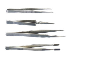 Laboratory forceps, fine tips, stainless steel, 2 pcs