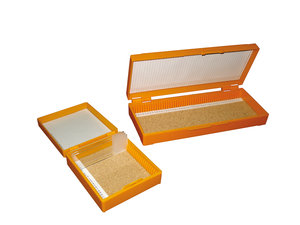 Microscope slide box for 100 slides