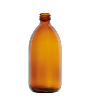 Glass bottle narrow neck, amber, PP28, 1000 ml, 20 pcs