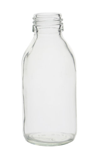 Glass bottle narrow neck, clear, PP28, 125 ml, 60 pcs