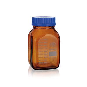 Laboratory bottle with ISO GL80 thread, graduated, Boro 3.3, amber, 500 ml, 10 pcs