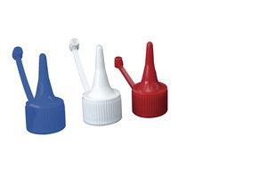 Dropper nozzle with screw cap, D17, blue, 10 pcs