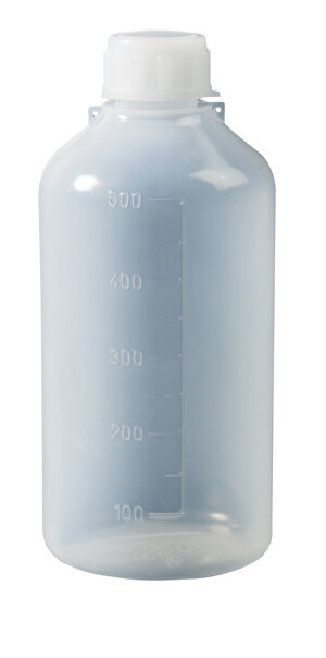 Narrow neck graduated bottle, cylindrical, LDPE, for photosensitive products, 1000 ml, 100 pcs