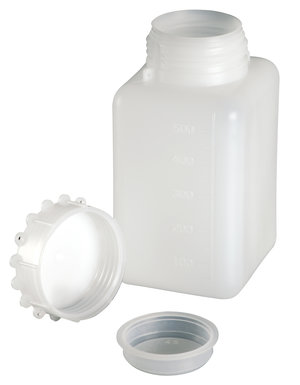 Wide mouth bottle graduated, rectangular, HDPE, with star cap, 250 ml, 350 pcs