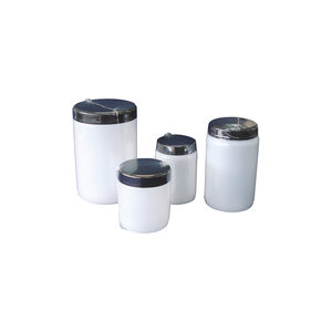 Wide mouth bottle with lid and insert plug, HDPE, aseptic and single film wrapped, 60 ml, 500 pcs