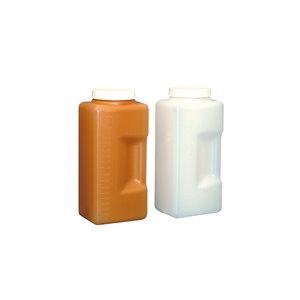 Graduated bottle with rectangular base, HDPE, white, 2000 ml