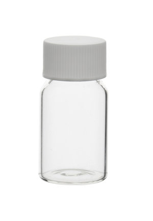 Clear glass sample vial with white screw cap and EPE joint, 19 ml, 195 pcs