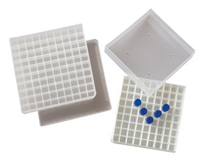 Freezer box, PP, for 81 (9x9) cryotubes up to 1,8 ml