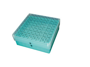 PP freezer box for 81 cryo tubes of 1-2 ml, yellow
