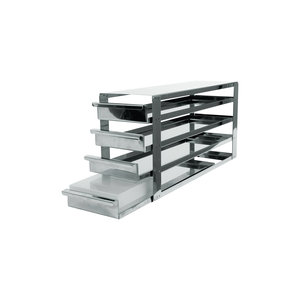 Rack with sliding shelfs, stainless steel, for 4 x 4 cryoboxes of 50 mm tall
