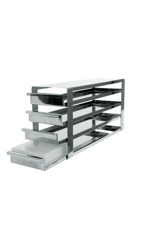 Rack with sliding shelfs, stainless steel, for 5 x 4 cryoboxes of 50 mm tall