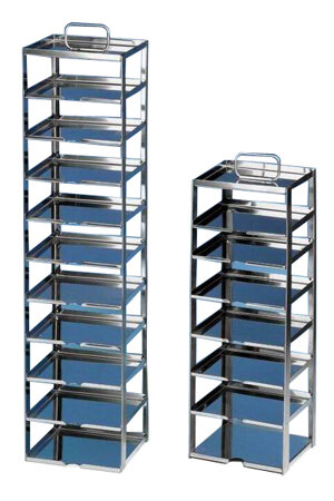 Rack for chest freezers, stainless steel, for 5 cryoboxes of 75 mm tall