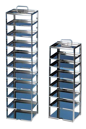 Rack for chest freezers, stainless steel, for 13 cryoboxes of 50 mm tall