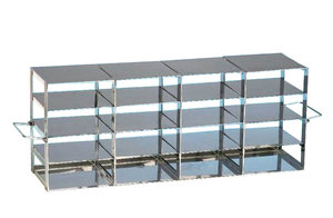 Rack for upright freezers, stainless steel, for 4 x 4 cryoboxes of 50 mm tall