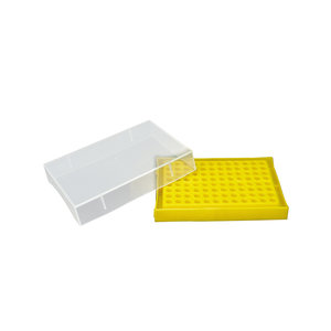 PCR microtube storage box with transparent lid, PP, up to 96 (8x12) tubes of 0,2 ml, Yellow color