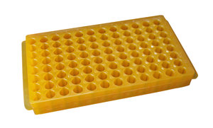 Overturnable PCR microtube rack, PP, up to 96 tubes (8x12) (0,5/1,5 ml). Green color