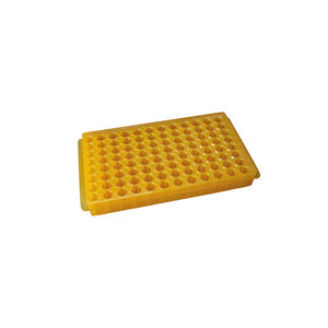 Overturnable PCR microtube rack, PP, up to 96 tubes (8x12) (0,5/1,5 ml). Orange color