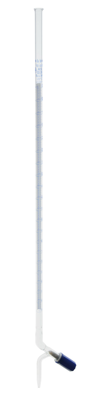 Burette with screw type needle valve PTFE stopcock, Schellbach type, Class A, 25 ml