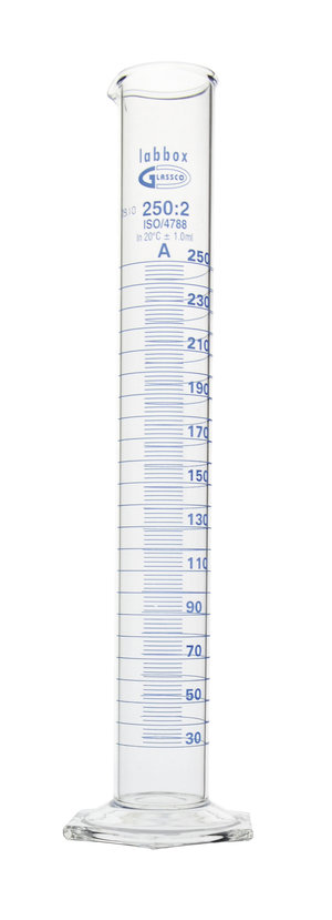 Measuring cylinder hexagonal base, 500 ml, class A, Premium Line