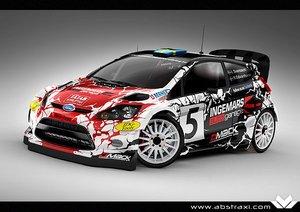 """Ford Fiesta WRC Ingemar Svensson Byggsats """"öppen"""" (Målad kaross)"""