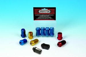 Aluminium mutter Svart Öppen 12mm x 1.25mm 60° 4 pack