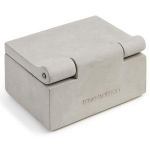 Visitkorts-skrin, betong, läderband
