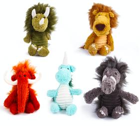 Plysch hundleksak Forntida djur 3-pack