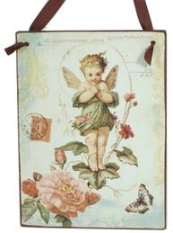 Plåtsskylt ängel rosor fjäril shabby chic lantlig stil