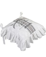 Stolfodral stolsdyna Mjöltryck med kjol vit svart mönstrad shabby chic lantlig stil