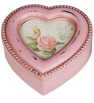 Ask trälåda rosa hjärta rosor pärlkant för foto shabby chic lantlig stil