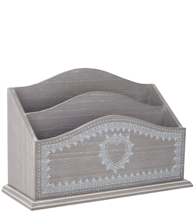 Brevställ Vintage ljusgrå dekorativ hjärtbård shabby chic lantlig stil