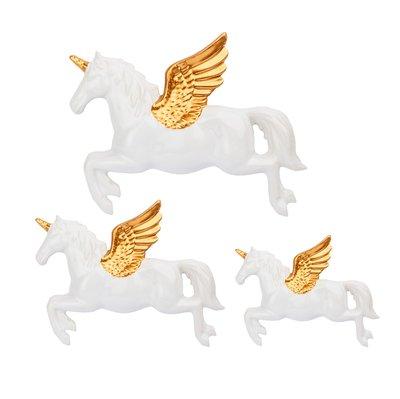 3 set vita Flygande enhörningar i porslin väggdekoration shabby chic lantlig stil