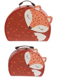 2 storlekar väska Söt Räv resväska shabby chic lantlig stil