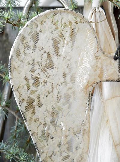 Stora vingar änglavingar patinerad spets shabby chic, lantlig stil